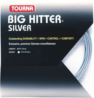 Unique Tourna Tennis Racquet String Big Hitter 15L Gauge, 40 FT-12 M-Silver