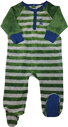 LITTLE PAW Baby Boys Velour Stretchie Pajamas - CY-A-604-B - Green, 6 Months
