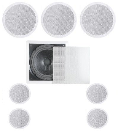 "7.1 Home Theater Flush Ceiling Speaker Package- Two Ceiling 6.5"" 2-Way Speakers, One Ceiling 6.5"" 2-Way Center Speaker, Four Ceiling 4"" 2-Way Speakers, And One 8"" Inwall Subwoofer"