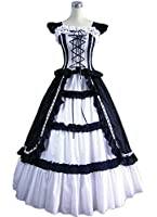 AvaLolita Womens Ruffle Sleeve Floor Length Gothic Victorian Lolita Dress