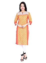 Divena Orange And White Kurti