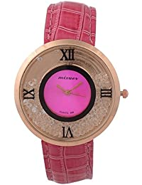 Felizo Round Dial Pink Leather Strap Analog Watch For Women & Girls With Moving Beads