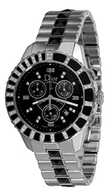 Christian Dior Unisex CD11431EM001 Christal Chronograph Diamond Black Dial Watch