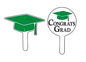 Green Graduation Cupcake Picks