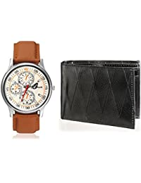 Arum Latest Design In Brown Leather Watch&Black Wallet For Men