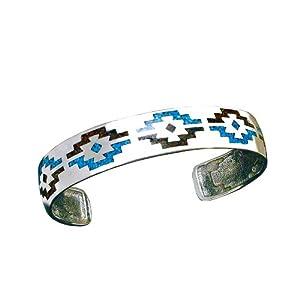 Indianerschmuck Armreif Navajo Design Türkis Koralle Chip Inlay 925 Sterling Silber