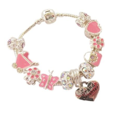 Treasured Charms & Beads Personalised Sparkling Pink & Silver Childrens/Girls Charm Bracelet Granddaughter