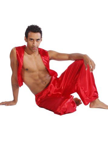 Belly Dance Men's Satin Vest & Pants Halloween Costume Set