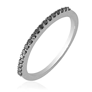 0.22cttw Natural Treated Black Round Diamond (AAA-Quality,Black-Color) Band Ring in 10K White Gold.size 7.5