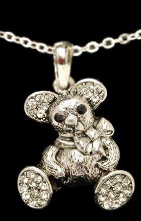 From the Heart Teddy Bear Necklace-Clear Crystal