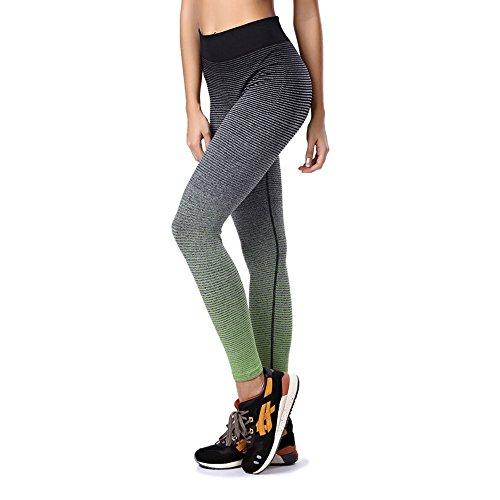 Donna Sport Pantaloni, YOKIRIN Leggings Esecuzione Yoga Palestra Elastico Skinny - M - Verde
