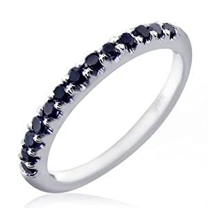 0.25 Carat Fancy Black Diamond Wedding Anniversary Band Ring size 4.5 10k White Gold