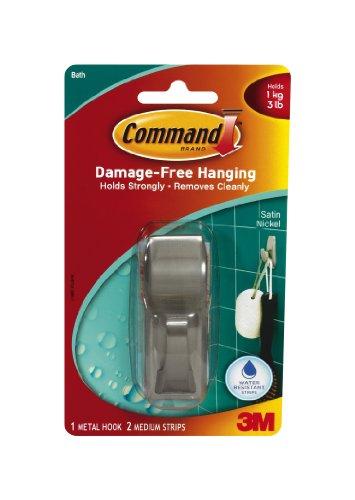 Command Modern Reflections Metal Medium Hook, Satin Nickel front-31003