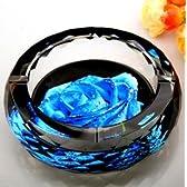 クリスタル風 ガラス製 灰皿 ブルー ローズ (15cm)