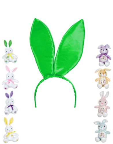 "New 9.5"" Green Satin Easter Bunny Rabbit Costume Ears"