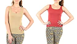 Lady Heart Women's Beige & Brick Red Cotton Regular Strap Tank Top Camisole Free Size - S / M / L . Pack Combo of 2