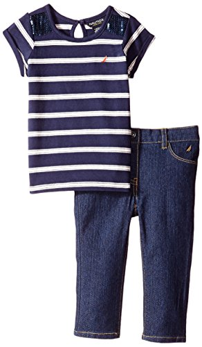 Nautica Baby Girls' Yarn Dye Stripe Tee with Sequin and Denim Pant, Navy, 18 Months