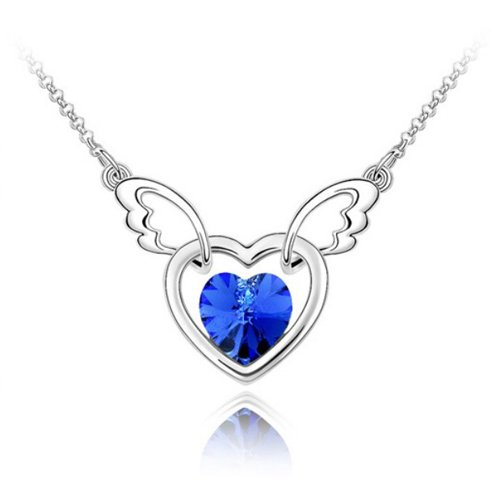 Mqueen Sapphire Angel Wing With Open Heart Pendant Necklace front-937979
