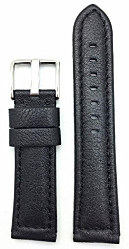 22Mm Black, Panerai Style, Smooth Soft Leather Watch Band