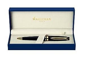 Waterman Expert Black Gold Trim Ball Pen - Gift Boxed
