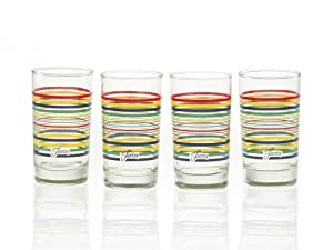 Fiesta Multi-Color Stripe Glassware, 7-Ounce Juice Glass, Set of 4 by Fiesta