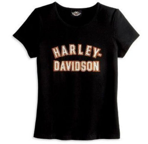 Harley-Davidson® Women's Short Sleeve Bling T-Shirt. Rhinestone Embellishment. 99068-08VW (Medium)