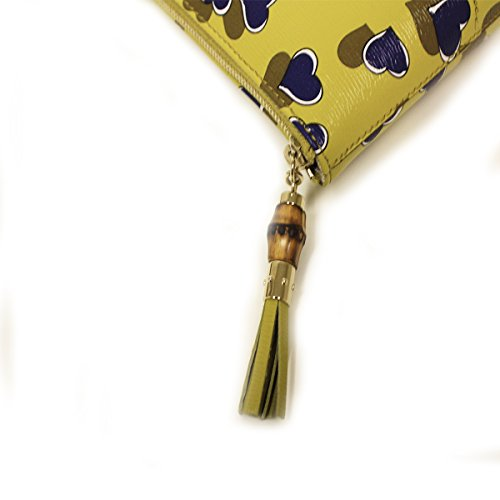 Gucci Heartbeat Heart Yellow Leather Bamboo Tassel Clutch Cosmetic Case Small 338816