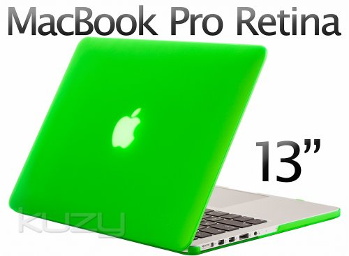 $$  Kuzy - Retina 13-Inch GREEN Rubberized Hard Case for MacBook Pro 13.3
