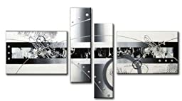 Wieco Art - White Black Lines Point Modern Stretched and Framed Artwork 4 Panels Abstract Landscape 100% Hand Painted Oil Paintings on Canvas Wall Art for Living Room Bedroom Home Decorations