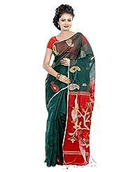 B3Fashion Bengal Tant Handloom Super Soft Silk Saree In Dark Green (Bottle Green) With Mango Motifs In Beige,...