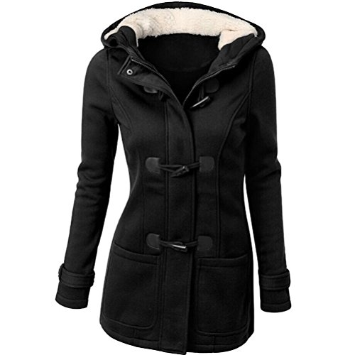 "Cappotto Donna, Reasoncool Fashion Women Windbreaker Outwear Warm Wool Slim Long Coat Jacket Trench (XXL-Busto:42.5"", Nero)"