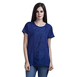 MansiCollections Casual Solid Women's Blue Top (XXX-Large)