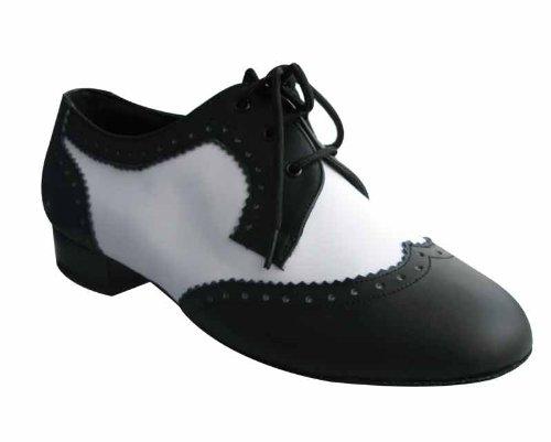 HenryG Men Ballroom Dance Shoes, White Black Men Ballroom Dance Shoes HGB-T92M