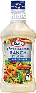 Kraft Three Cheese Ranch Dressing & Dip, 16-Ounce Plastic Bottles (Pack of 6)