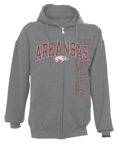 NCAA Arkansas Razorbacks Men's Dri-Power Fleece Full Zip Hood (Oxford, Large) at Amazon.com