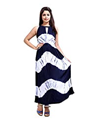 Trendy Blue Dress Rayon Crepe Tie Dye Abstract Large For Womens By Rajrang