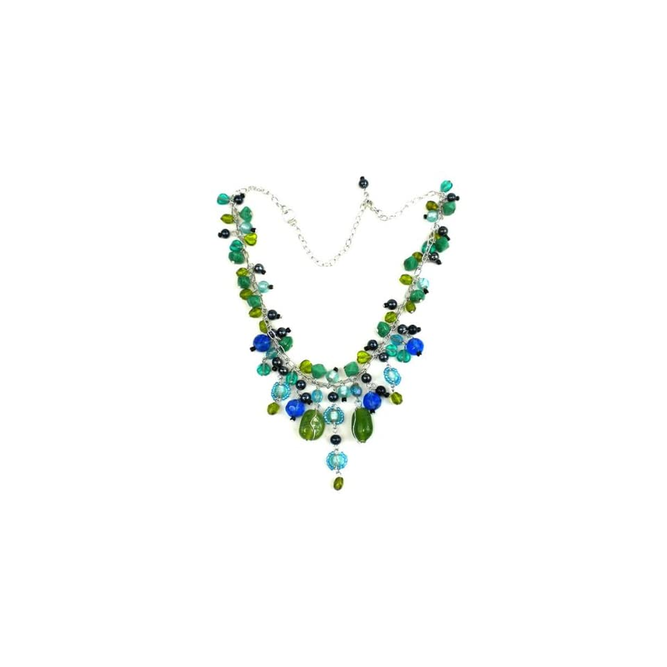 Silver Green and Blue Glass Bead Charm Necklace (India)