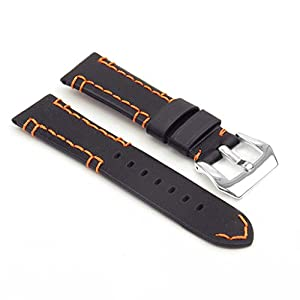DASSARI Vagabond Hand Stitched Vintage Leather Watch Band Strap w/ PVD Polished Steel Buckle fits PANERAI