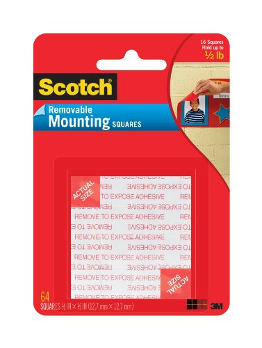 Scotch Foam Mounting Removable Squares, 1/2 x 1/2 Inch, 64 Squares (108-SML) (Foam Tape Removable compare prices)