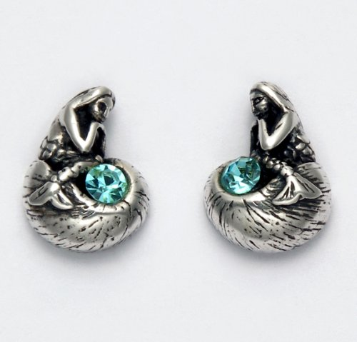 Sterling Silver Thinking Mermaid with Aqua Crystal Stud Earrings