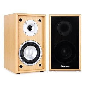 Auna Linie-300-SF-BH - loudspeakers (Wood, Tabletop/bookshelf, Speaker set unit, Wired, Wood, 2-way)