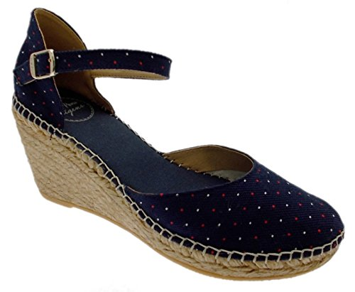 scarpa sandalo blu mari pois rosso bianco chiuso zeppa art DELTA 36 blu
