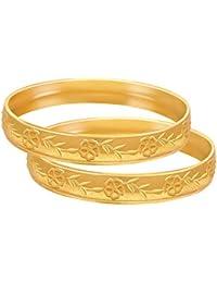 Jfl - Jewellery For Less Traditional Ethnic Floral One Gram Matt Gold Plated Bangle Set For Women & Girls