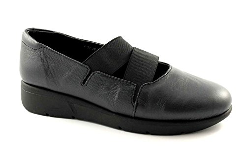 GRUNLAND BENE SC1295 nero scarpe donna ballerine pelle zeppetta 38