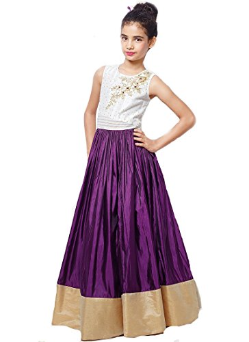 Pashimo Purple Color Silk Traditional Kids Wear Gowns for Girls Party Wear - ( Kids Diwali Special ) :: (Kids Dress)