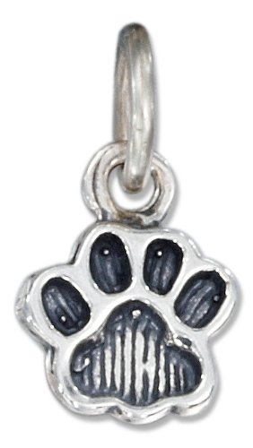 Sterling Silver Antiqued Small Paw Print Charm