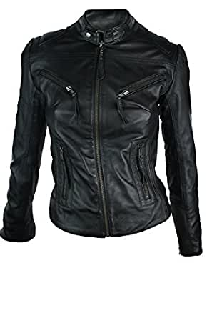 100% Ladies Real Leather Jacket Fitted Bikers Style Vintage Black Rock