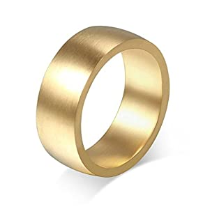 Free Engraving KnSam Women Stainless Steel Bands Gold Vintage Brushed Cambe 8MM Size 12 [Novelty Ring]