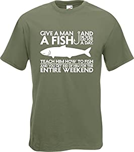 Give A Man A Fish Funny Fishing Fisherman T-Shirt TShirt All SzsClrs from Fruit of the Loom