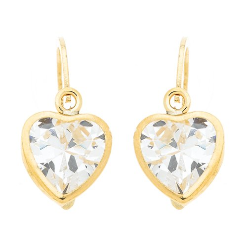 So Chic Jewels - 9k Yellow Gold - Heart Cubic Zirconia Stud Earrings